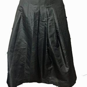 KAY UNGER Black Taffeta Silk A-Line Skirt